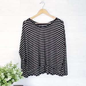 Free People Gray Cream Stripe Crop Dolman Top